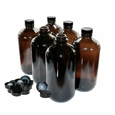 (6 Pack) 32 oz. Amber Boston Round with Black Poly Cone Cap (33/400)