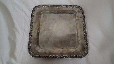 "Antique Black Starr & Frost Sterling Silver plate square 8"" floral Beautiful!"