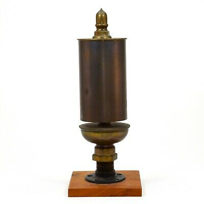 """Large brass steam engine whistle marked Made in USA, 18"""" high with display base"""