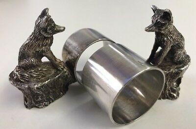 2 Vintage Silver Plated Fox Napkin Rings Dinning Table Ware