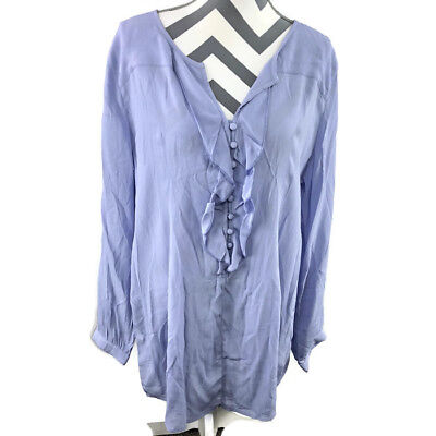 ee5f358a3acd33 Soft Surroundings Womens XL Purple L/S 1/2 Button Down Blouse Ruffle NEW