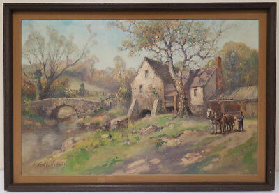 George Adolph Newman (1875-1965) Oil Painting Signed Harpers Hollow Mill Penn.