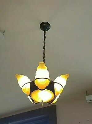 Vintage 6 Light Art Deco Chandelier Slip Shade Light Fixture! Awesome!!!