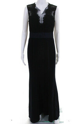 d46dd7f9 Theia Womens Deep Midnight Sheath Lace Mesh Gown Blue Black Size 8 11085296