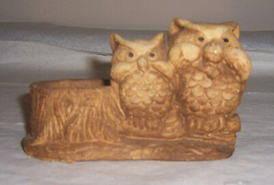 ~~ Pair Of Cute Little Owls On Branch ~~ Carved Wood Owls For Votive Candle