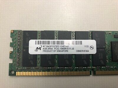 Micron 8GB 2RX8 PC3L-10600R-9-11-L0 DDR3-1333 1.35V .VERY LOW PROFILE