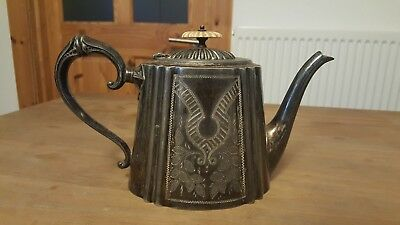 Lovely Engraved Silver Plate Tea Pot Stamped D&A EP BM G8412