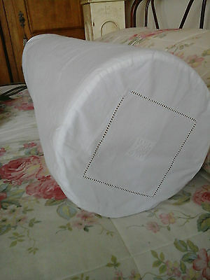"Antique French Metis Linen Day Bed Bolster Sham/Case -43""~Beautiful drawn thread"