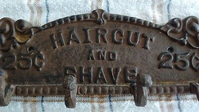 Cast Iron HAIR CUT & SHAVE 25 CENTS Barber Sign Wall Plaque with 4 Hat Hooks