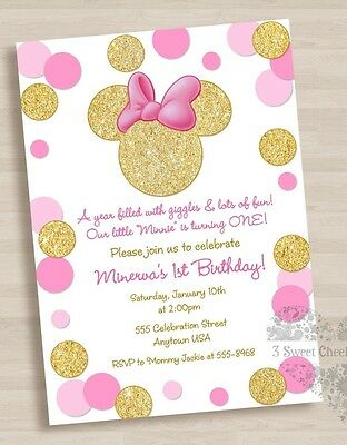Minnie Mouse Pink Gold 1st Birthday