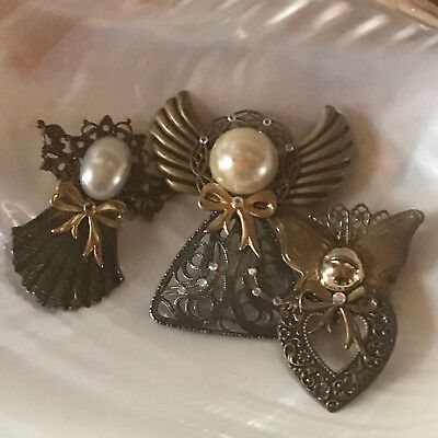 Estate Lot of 3 Victorian Reproduction Antique Goldtone Angel Pin Brooch – large