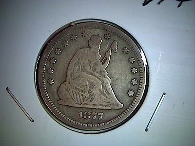1877 S  Liberty Seated United States Quarter,