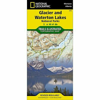National Geographic Glacier and Waterton Lakes Trails Illus Topo Map - # 215