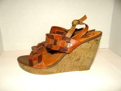 83154ed48a Lucky Brand Mai Cork Wedge Sandals Size 8.5M Platform Shoes Heels Brown  Weave