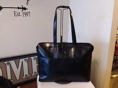 BOSCA Black Old Italian Leather Business Travel Laptop Tote w/ Removable Sleeve