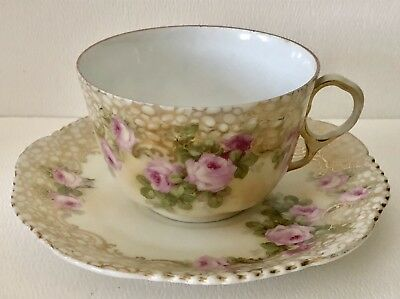 Antique German BP Wurttemberg Pink Rose Cups & Saucer Hand Painted Gold Bubbles