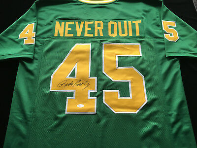 631874921 Rudy Ruettiger Notre Dame Signed Autograph Green Jersey
