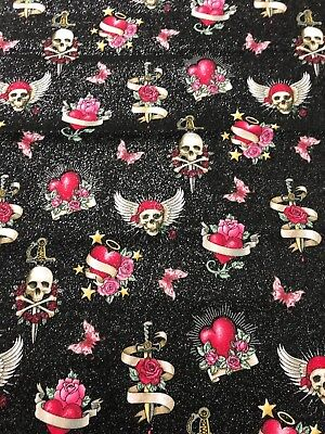 Halloween Gothic Skulls Pink Roses Red Hearts Skull Tattoo Glittered Fabric 19in