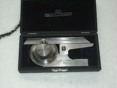 "Brown & Sharpe No. 496 Universal Bevel Protractor 6"" Blade W/Case"