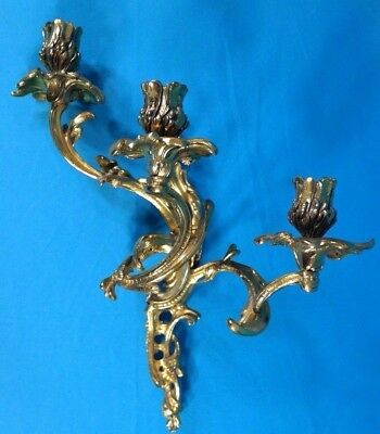 """Baroque Style 3 Arm Ornate Brass Candleholder Wall Sconce 15"""" Tall"""