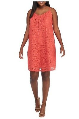 New Retro Boho Speechless Coral Crochet All Over Lace Back Cutout Cami Dress 2X