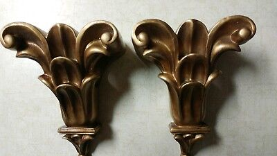 """Vintage Antique Lot of Two Carved Wall Shelf's Gold Colored Rare Piece 8"""" High"""