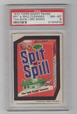 1973 Topps Wacky Packages 3rd Series Rare Variation * Spit and Spill * PSA 8