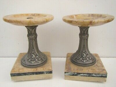 Old Pair of Marble Decoration from 3 Piece Clock Set