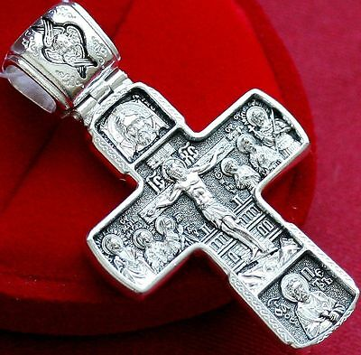 Large Crucifix. Mother Of God, Jesus Christ, Saints Russian Orthodox. Silver 925