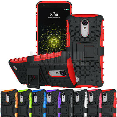 Rugged Hybrid Hard Armor Case Kickstand Rubber Cover For LG Aristo MS210 LV3