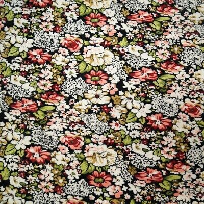 100% Cotton Corduroy Fabric Floral Flower Leaves Garden