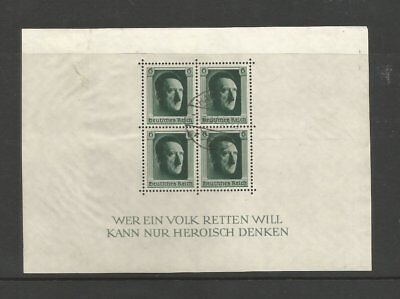"""GERMANY 1937 USED """"CULTURE FUND & HITLERS 48th BIRTHDAY"""" MINI SHEET MS635 AS16"""