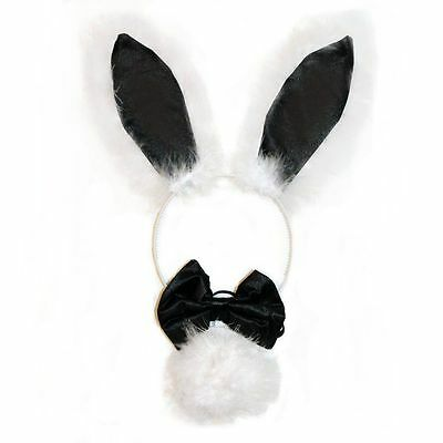 Black & White Bunny Rabbit Ears Bow Tie & Tail Set for Fancy Dress  New & Sealed