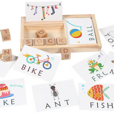 Baby Wooden English Spelling Alphabet Letter Card Early Learning Educational Toy
