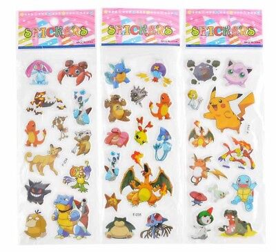 3 X Pokemon Stickers - Party bags, Birthday Party, Scrapbooks Sheets