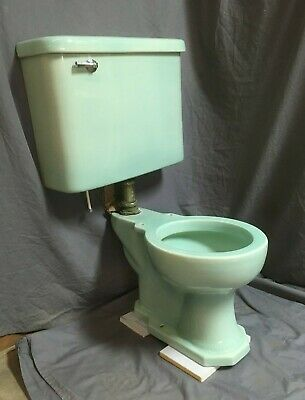 Antique Aqua Marine Green Toilet Bowl Tank Lid Old Vtg Kohler Bathroom 46-19E