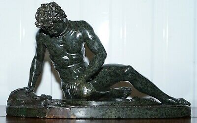 Rare Grand Tour Large Sized 19Th Century Green Marble Statue Of The Dying Gaul