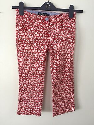 MINI BODEN Girls red White flower pattern jeans trousers 11 years