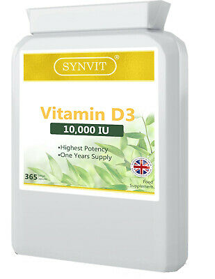 Vitamin D3 10000iu High Strength 365 Soft Gel  Vit d - No Quibble Guarantee!.