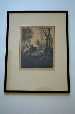 Charles Emile Jacque 1813-1894 Original Etching Listed Barbizon Signed 19Th C