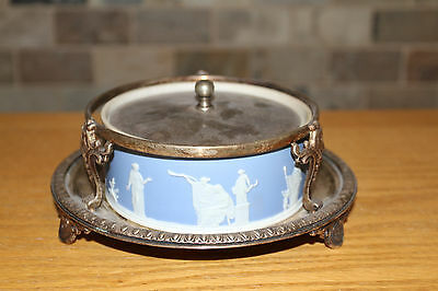 Wedgwood Blue Jasper Ware Large Dish Crown Silver-plated Cover Stand c.1900