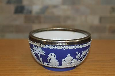 Antique Wedgwood Etruria Blue Jasper Ware Bowl With Silver-Plated Rim (c.1900)