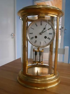 Oval French Four Glass Eight Day Clock Serviced & Overhauled