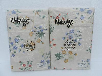 Two Vintage Royal Doulton Frilled Pillow Cases ~ Wabasso