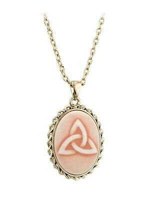 Gold Plated Cameo Pendant Trinity Knot, made by Solvar, Irish Gift