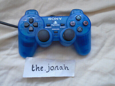 PS1 Official Sony Playstation Dual Shock CLEAR BLUE Controller TESTED & WORKING