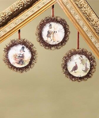 Bethany Lowe Set of 3 Different Thanksgiving Image Dome Ornaments LC4572 New