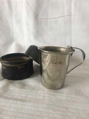 Antiker zusammenklappb. Reisebecher im Orig.Etui-Travelling handle folding Cup