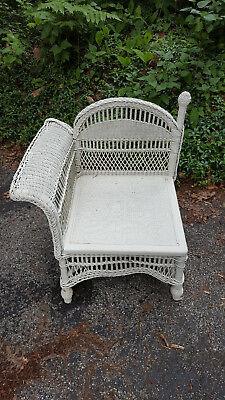 Antique Reed Wicker Corner Chair with Rolled Arm Painted White circa 1890