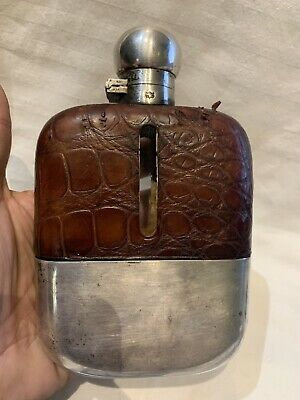Grosse / Large Vintage Finnigans cro Leather Covered Flask -Flachmann  Silber?